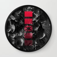 decal Wall Clocks featuring black ocean by LEEMO