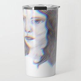 "SERIOUS - pencil illustration ""screen print"" Travel Mug"