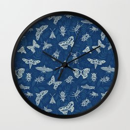 Cyanotype insects Wall Clock