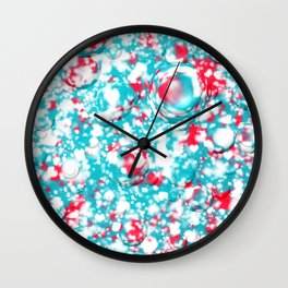 small blue red pattern on white underground Wall Clock