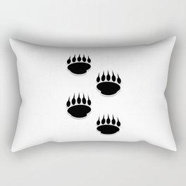 Black Bear Paw Prints Rectangular Pillow