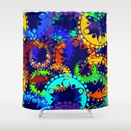 Texture of bright colorful gears and laurel wreaths in kaleidoscope style on a sea background. Shower Curtain