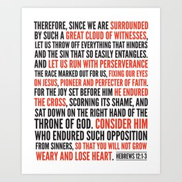 Hebrews 12:1-3 Great Cloud of Witnesses Art Print
