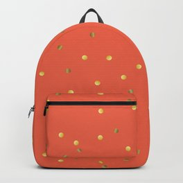 Gold Confetti on Coral Orange Backpack