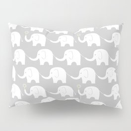 Elephant Parade on Grey Pillow Sham