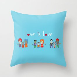 Love is Love Blue - We Are All Equal Throw Pillow