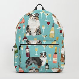 Australian Shepherd blue and red merle wine cocktails yappy hour pattern dog breed Backpack