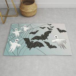 Bats & Monsters Halloween Spider Web Rug