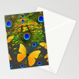 GREEN PEACOCK FEATHERS YELLOW BUTTERFLIES Stationery Cards