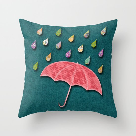 It's raining, it's pouring Throw Pillow