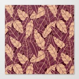 Purple leaves line artwork Canvas Print