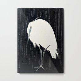 Egret standing in rain - Japanese vintage woodblock print Metal Print
