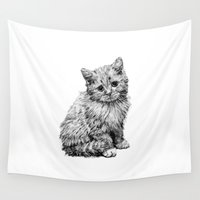 kitten Wall Tapestries featuring Kitten by Molly Morren