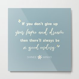 SHINEE Minho Quote Metal Print