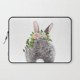 Bunny Tail, Grey Baby Rabbit, Bunny With Flower Crown, Baby Animals Art Print By Synplus Laptop Sleeve