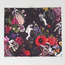 Flowers and Astronauts Throw Blanket