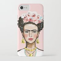 frida kahlo iPhone & iPod Cases featuring Frida Kahlo by devinepaintings