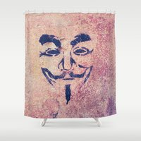 vendetta Shower Curtains featuring Guy Fawkes Stencil by Vito Fabrizio Brugnola