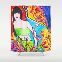 cherry blossom Shower Curtains featuring Cherry Blossom by Ming Myaskovsky