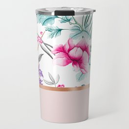 Chinoiserie pearl white floral & rose gold Travel Mug