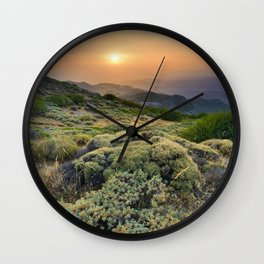 Summer Sunset At The Mountains Wall Clock