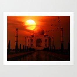 Taj Mahal Sunset Art Print