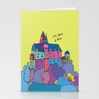 castle in the sky Stationery Cards featuring castle by PINT GRAPHICS