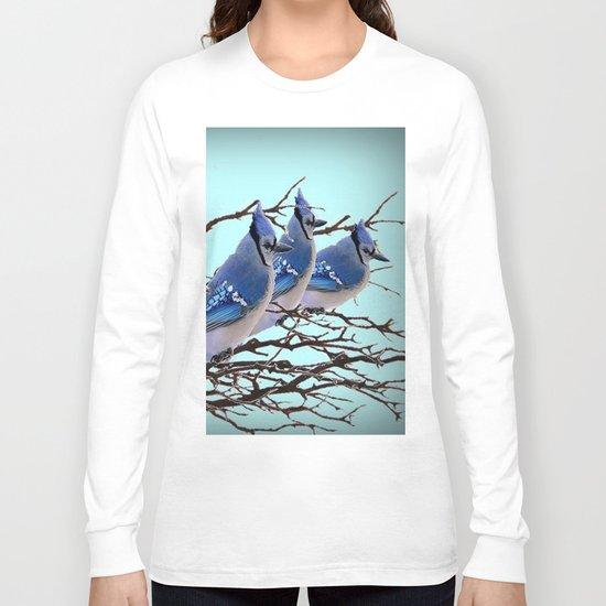 THREE AMERICAN BLUE JAYS ART WINTER ART Long Sleeve T-shirt