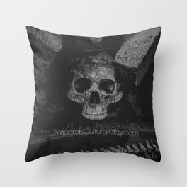 Catacomb Culture - Black and White Human Skull Throw Pillow