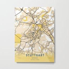Stuttgart Yellow City Map Metal Print