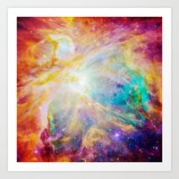 nebula Art Prints featuring nEBula : Colorful Orion Nebula by 2sweet4words Designs