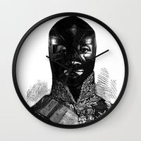 wrestling Wall Clocks featuring Wrestling mask 1 by DIVIDUS
