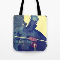 train Tote Bags featuring train  by gzm_guvenc