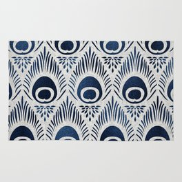 Peacock Damask Bohemian Indigo Denim Rug