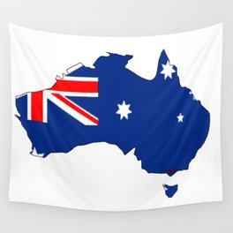 Australia Map with Australian Flag Wall Tapestry
