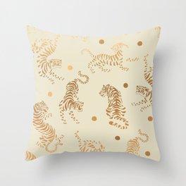 Golden Tigers III Throw Pillow
