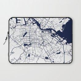 Amsterdam White on Navy Street Map Laptop Sleeve