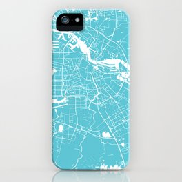 Amsterdam Turquoise on White Street Map iPhone Case