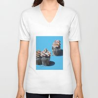 cupcakes V-neck T-shirts featuring Cupcakes by Jody Edwards Art
