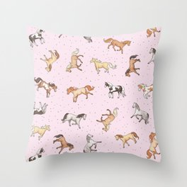 Scattered Horses spotty on cherry blossom light pink pattern Throw Pillow