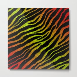 Ripped SpaceTime Stripes - Red/Lime Metal Print