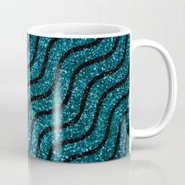 Blue Glitter With Black Squiggle Pattern Coffee Mug