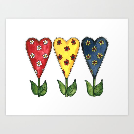 Hearts & Flowers Art Print
