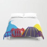 rio de janeiro Duvet Covers featuring Rio de Janeiro skyline pop by Paulrommer