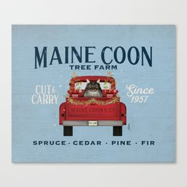 Maine Coon Cat Christmas Tree Farm Vintage Red Truck  Canvas Print