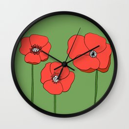 Red Poppies by Emma Freeman Designs Wall Clock
