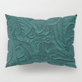 Deep Teal Tooled Leather Pillow Sham
