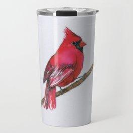 A Northern cardinal watercolor Travel Mug