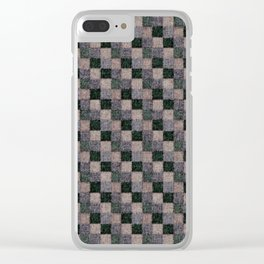 Rustic Gray Green Beige Black Patchwork Clear iPhone Case