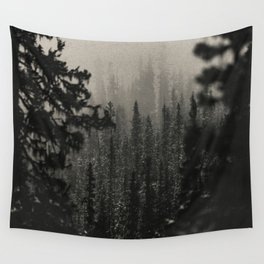 Pacific Northwest Forest in Black and White Wall Tapestry